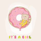 Baby Shower or Arrival Card - Baby Girl Cat Stock Images