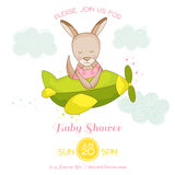 Baby Shower or Arrival Card - Baby Girl Kangaroo Flying on a Plane. In vector stock illustration