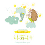 Baby Shower or Arrival Card - Baby Hedgehog Catching Stars Stock Photo