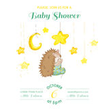 Baby Shower or Arrival Card - Baby Hedgehog Catching Stars Stock Image