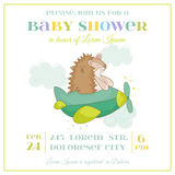 Baby Shower or Arrival Card - Baby Hedgehog in a Plane. In vector Stock Photography