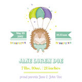 Baby Shower or Arrival Card - Baby Hedgehog. In vector Royalty Free Stock Images