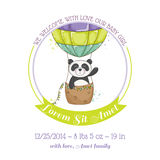 Baby Shower or Arrival Card - Baby Panda and Air balloon Stock Photography