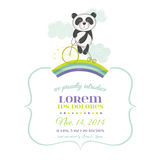 Baby Shower or Arrival Card - Baby Panda on a Bike Stock Images