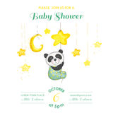 Baby Shower or Arrival Card - Baby Panda Catching Stars Stock Photo