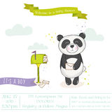 Baby Shower or Arrival Card - Baby Panda with Mailbox Stock Images
