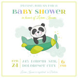 Baby Shower or Arrival Card - Baby Panda in a Plane Stock Photography
