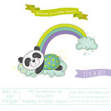 Baby Shower or Arrival Card - Baby Panda on a Rainbow Royalty Free Stock Images