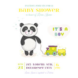 Baby Shower or Arrival Card - Baby Panda with Train Toy Stock Photo