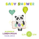 Baby Shower or Arrival Card - Baby Panda Stock Photography