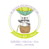 Baby Shower or Arrival Card - Baby Racoon and Air balloon Royalty Free Stock Photo