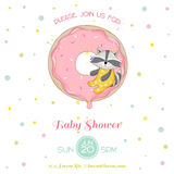Baby Shower or Arrival Card - Baby Racoon Girl Stock Images
