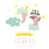 Baby Shower or Arrival Card - Baby Racoon Girl Stock Photography
