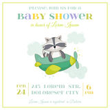 Baby Shower or Arrival Card - Baby Racoon Stock Photo