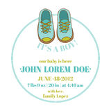 Baby Shower and Arrival Card - Baby Shoes Theme Royalty Free Stock Photography