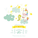 Baby Shower or Arrival Card - Baby Unicorn Girl. In vector Stock Photography