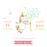 Baby Shower or Arrival Card - Baby Unicorn Girl. In vector Stock Image