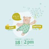 Baby Shower or Arrival Card. Baby Bear with Flower - in vector Stock Image