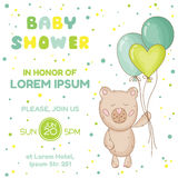 Baby Shower or Arrival Card. With Baby Bear - in vector Stock Image