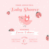 Baby Shower or Arrival Card. Bird and Ladybugs - in vector Royalty Free Stock Photo
