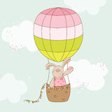 Baby Shower or Arrival Card. Baby Bunny with Air Balloon - in Royalty Free Stock Photo