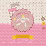 Baby Shower or Arrival Card. Baby Bunny Girl - in Royalty Free Stock Photos