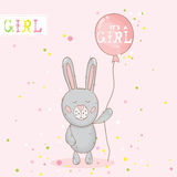 Baby Shower or Arrival Card. With Baby Bunny - in vector Royalty Free Stock Images