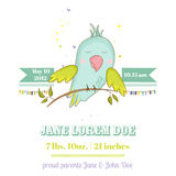 Baby Shower or Arrival Card. Cute Parrot Boy Sitting on a Brunch Stock Images