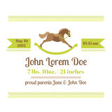 Baby Shower and Arrival Card - Horse Theme Royalty Free Stock Images