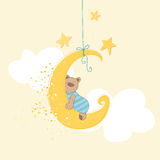 Baby Shower or Arrival Card. Sleeping Baby Bear - in Royalty Free Stock Image