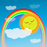 Baby Shower or Arrival Card. the sun is sleeping Royalty Free Stock Photography