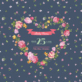 Baby Shower or Arrival Cards. With Spring Blossom Flowers - in vector Royalty Free Stock Photo
