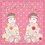 Baby shower with baby girl twins Royalty Free Stock Photography