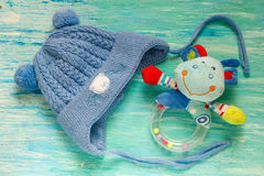Baby shower baby hat with ears knitted pixie hat boy announcement Stock Image