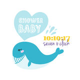 Baby shower badge happy mothers day insignias blue whale sticker stamp icon frame and card design doodle vintage hand Royalty Free Stock Images
