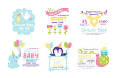 Baby shower badge happy mothers day insignias logotype sticker stamp icon frame and card design doodle vintage hand Royalty Free Stock Image