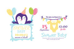 Baby shower badge happy mothers day insignias penguin sticker stamp icon frame and card design doodle vintage hand drawn Stock Photography