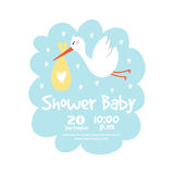 Baby shower badge happy mothers day insignias stork sticker stamp icon frame and bird card design doodle vintage hand Royalty Free Stock Image
