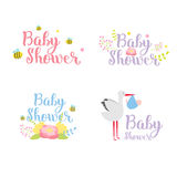 Baby shower badge vector set. Royalty Free Stock Photos