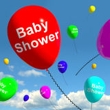 Baby Shower On Balloons In Sky. As Newborn Birth Party Stock Photography