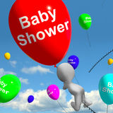 Baby Shower On Balloons In Sky Shows Newborn Birth Message Royalty Free Stock Image