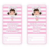 Baby shower banner  cartoon design with cute panda girl on pink striped background suitable for baby shower postcard. And invitation card Stock Photos