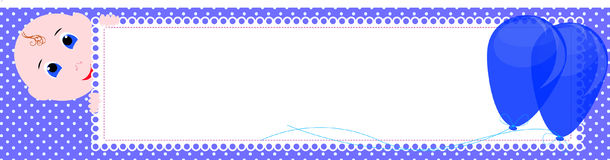 Baby shower banner. Cute boy holding the sign for writing. Royalty Free Stock Image