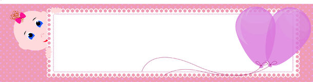 Baby shower banner. Cute girl holding the sign for writing. stock illustration