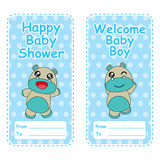 Baby shower banner with vector cartoon of cute baby hippo on blue polka dot background suitable for baby shower card Royalty Free Stock Photo