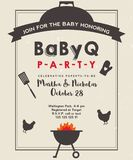 Baby shower barbeque invite on grunge paper. Baby shower barbeque party with vintage background. BBQ invite template. Grunge paper vector illustration