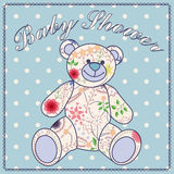Baby shower with bear toy Royalty Free Stock Image