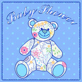 Baby shower with bear toy Royalty Free Stock Photo