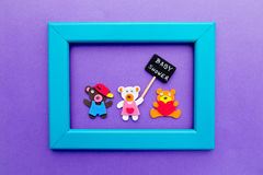 Baby Shower - bears with blackboard sign on purple background with turquoise frame Stock Photography