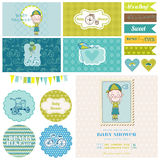 Baby Shower Bicycle Party Set stock illustration